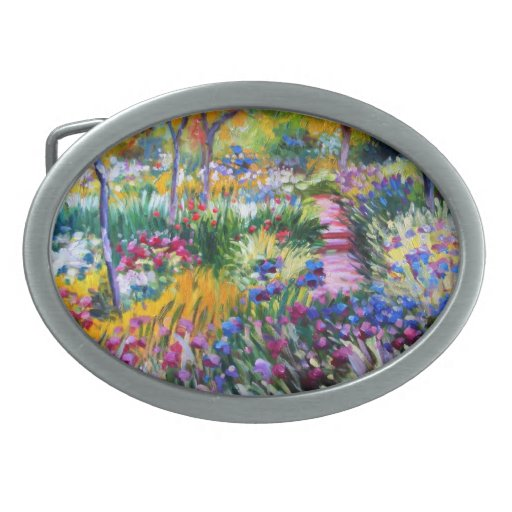 Claude Monet: Iris Garden by Giverny Oval Belt Buckle