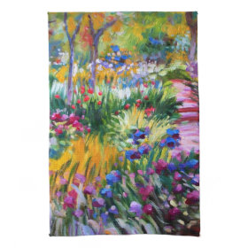 Claude Monet: Iris Garden by Giverny Kitchen Towels