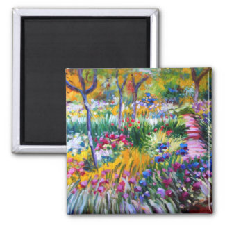 Claude Monet: Iris Garden by Giverny 2 Inch Square Magnet