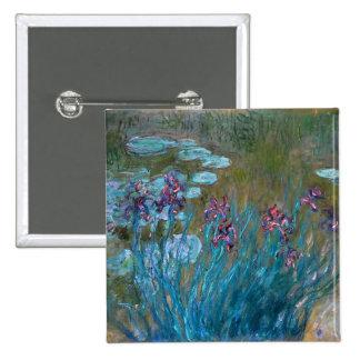 Claude Monet: Iris y lirios de agua Pin Cuadrado