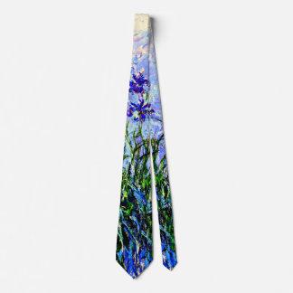 Claude Monet: Irises, beautiful floral painting Neck Tie