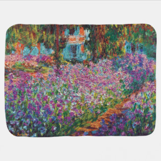 Claude Monet - Irises in Monet's Garden Fine Art Receiving Blanket