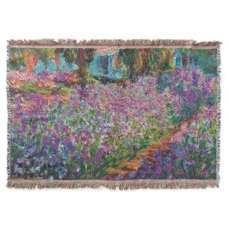 Claude Monet - Irises in Monet's Garden Fine Art Throw Blanket