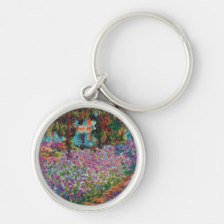 Claude Monet - Irises in Monet's Garden Silver-Colored Round Keychain