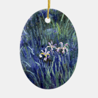 Claude Monet: Irises Double-Sided Oval Ceramic Christmas Ornament
