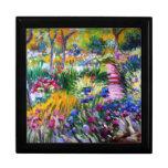 Claude Monet: Jardín del iris por Giverny Joyero Cuadrado Grande