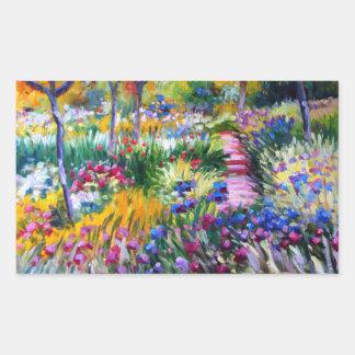Claude Monet Jardín del iris por Giverny Rectangular Pegatinas