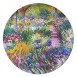 Claude Monet: Jardín del iris por Giverny Plato Para Fiesta