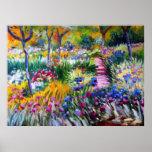 Claude Monet: Jardín del iris por Giverny Póster