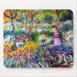 Claude Monet: Jardín del iris por Giverny Tapetes De Ratón