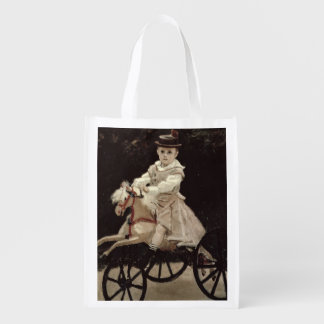 Claude Monet | Jean Monet on his Hobby Horse, 1872 Reusable Grocery Bag