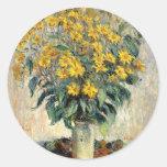Claude Monet Jerusalem Artichoke Flowers 1880 Classic Round Sticker