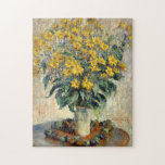 "Claude Monet Jerusalem Artichoke Flowers 1880 Jigsaw Puzzle<br><div class=""desc"">Photo puzzle,  Claude Monet Jerusalem Artichoke Flowers 1880. A floral painting by Claude Monet which features a vase with yellow flowers. These flowers resemble yellow daisies or sunflowers.</div>"