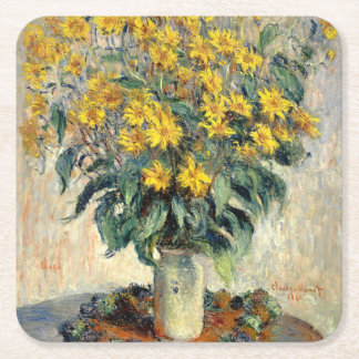 Claude Monet Jerusalem Artichoke Flowers 1880 Square Paper Coaster