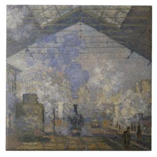 Claude Monet - la estación del Santo-Lazare Azulejo Cuadrado Grande