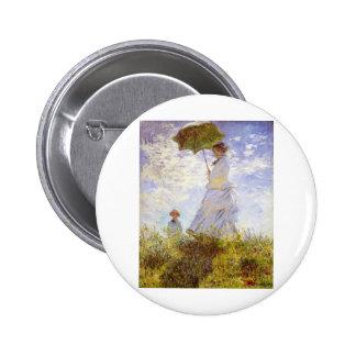 Claude Monet - la mujer con el parasol Pin Redondo De 2 Pulgadas