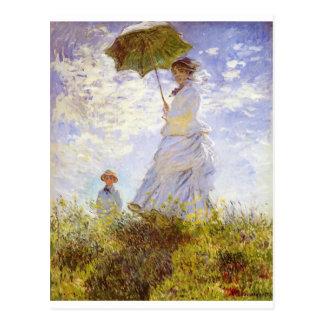 Claude Monet - la mujer con el parasol Tarjeta Postal