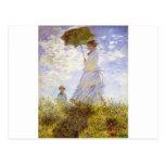 Claude Monet - la mujer con el parasol Tarjetas Postales