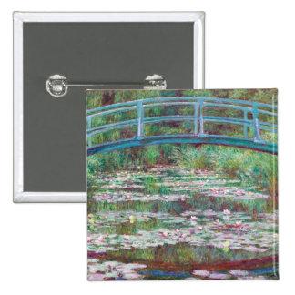 Claude Monet la pasarela japonesa Pin Cuadrado