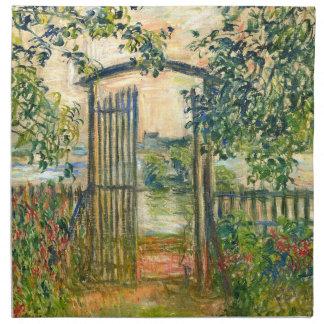 Claude Monet La puerta de jardín en Vetheuil Servilletas Imprimidas