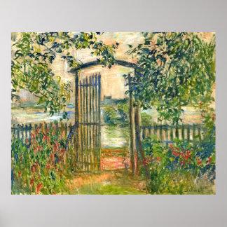 Claude Monet: La puerta de jardín en Vetheuil Posters