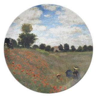 Claude Monet - Les Coquelicots Melamine Plate