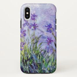Claude Monet Lilac Irises Vintage Floral Blue iPhone X Case