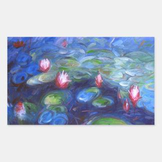 Claude Monet Lirios de agua 2 Rectangular Pegatinas