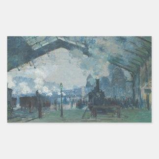 Claude Monet - llegada del tren de Normandía Pegatina Rectangular