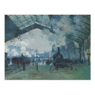 Claude Monet - llegada del tren de Normandía Tarjetas Postales