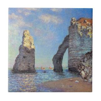 Claude Monet //los acantilados en Etretat Azulejo Cuadrado Pequeño