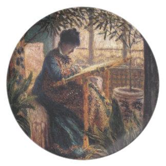 Claude Monet: Madame Monet Embroidering Dinner Plates