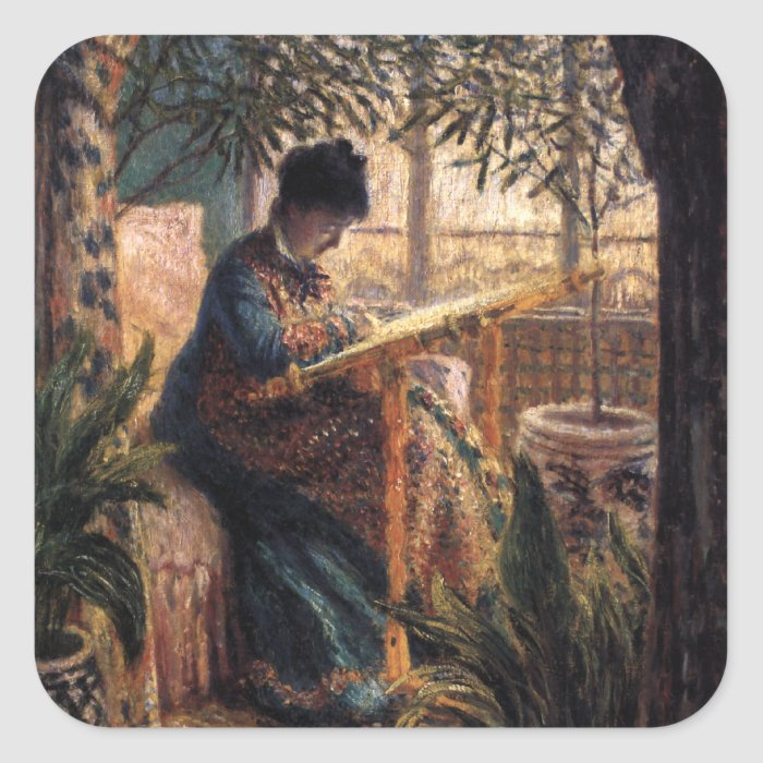 Claude Monet: Madame Monet Embroidering Square Sticker