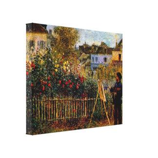 Claude Monet - Monet painting in his garden Canvas Print