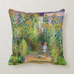 Claude Monet: Monet's Garden at Vétheuil Throw Pillow