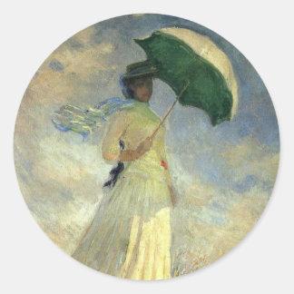 """Claude Monet, """"mujer con el pegatina de un"""