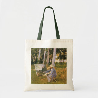 Claude Monet Painting, Edge of a Wood by Sargent Canvas Bags