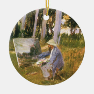 Claude Monet Painting, Edge of a Wood by Sargent Ceramic Ornament