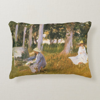 Claude Monet Painting, Edge of a Wood by Sargent Decorative Pillow