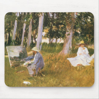 Claude Monet Painting, Edge of a Wood by Sargent Mouse Pad