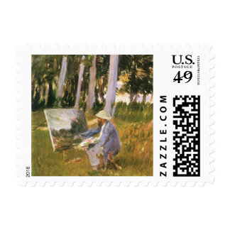 Claude Monet Painting, Edge of a Wood by Sargent Postage