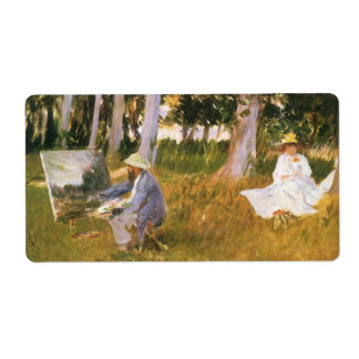 Claude Monet Painting, Edge of a Wood by Sargent Shipping Label