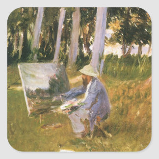 Claude Monet Painting, Edge of a Wood by Sargent Square Sticker