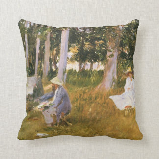 Claude Monet Painting, Edge of a Wood by Sargent Throw Pillow