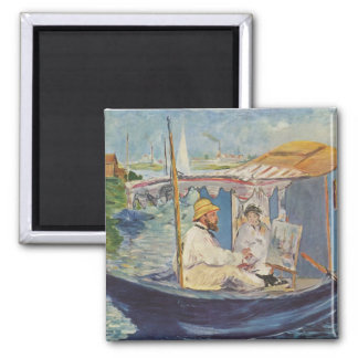 Claude Monet Painting - Edouard Manet 2 Inch Square Magnet
