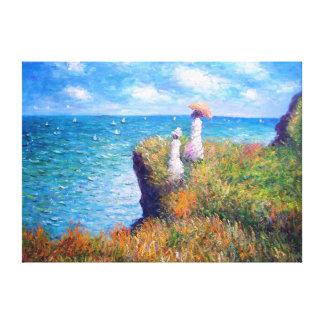 Claude Monet: Paseo del acantilado en Pourville Lona Estirada Galerias