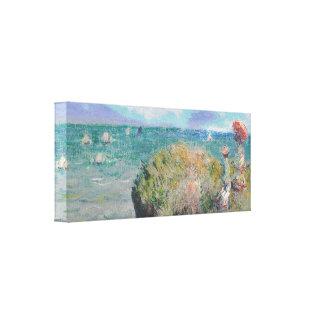 Claude Monet: Paseo del acantilado en Pourville Impresión En Lienzo Estirada