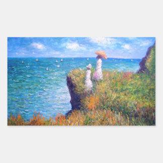 Claude Monet Paseo del acantilado en Pourville Rectangular Pegatina