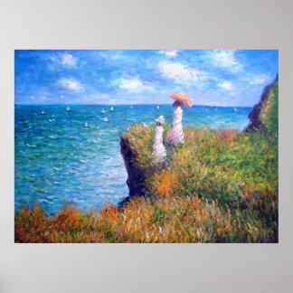 Claude Monet: Paseo del acantilado en Pourville Póster