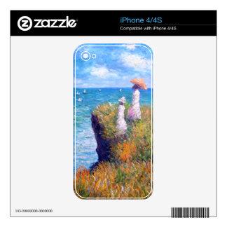 Claude Monet: Paseo del acantilado en Pourville Skin Para El iPhone 4